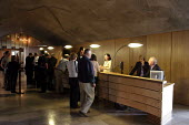 The interior of the new Scottish Parliament building. This is the entrance foyer where the public have their first point of contact with building. Architect Enric Miralles - Alan Wylie - 17-09-2004