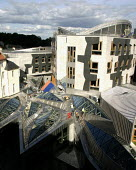 Exterior of the new Scottish Parliament building, Edinburgh. Architect Enric Miralles - Alan Wylie - 17-09-2004