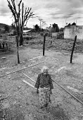 An elderly woman standing where her house use to be. It was completely burnt down by the Pro-Indonesia militia during the recent conflicts, in the East Timor Crisis. - Boris Heger - 03-04-2004