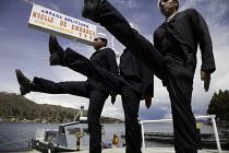 Bolivian seamen parade during exercises on Lake Titicaca, Bolivia. - Boris Heger - 2010,2010s,americas,Amerindian,Amerindians,Armed Forces,BOAT,boats,Bolivia,Bolivian,Bolivian Naval Force,Bolivians,crew,crewman,crewmen,crewmenmaritime,Goose Step,Goose Stepping,guard,guarding,guards,
