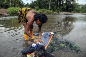 A Tule woman washing clothes in a local river. This village of Indigenous Tule have been displaced by conflict, to the Panama border region of the Darien gap. Their �culture is based on a strong relat... - Boris Heger - 2010,2010s,access,Amerindian,Amerindians,apparel,border,clean,cleaning,cleansing,clothes,clothing,communities,community,conflict,costume,country,countryside,Cuna,darien,Darien Gap,Department,displaced