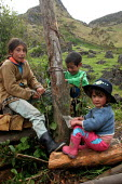 Local children play on the footpath to the mountain range of El Cocuy, culminating at a height of 5400 meters, Colombia. - Boris Heger - 2000s,2007,altitude,americas,boy,boys,child,CHILDHOOD,children,colombia,Colombian,Colombians,everyday,female,females,footpath,footpaths,girl,girls,height,juvenile,juveniles,kid,kids,Latin America,life