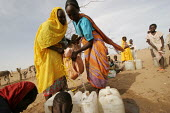 Women displaced by the violence just received some water brought by an international organisation, IDP camp of Gereida, Darfur region, Sudan, May 2006. - Boris Heger - 05-05-2006