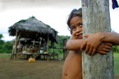 An Embera boy stands near his traditional hut, indigenous Embera village of Sobiaquiru, Darien region, Panama, August 2004. This region is very remote. - Boris Heger - ,2000s,2006,americas,Amerindian,Amerindians,BAME,BAMEs,BME,bmes,Boca de cupe,boy,boys,Cana,child,CHILDHOOD,children,clearing,communities,community,country,countryside,Darién,Darien Gap,diversity,Embe