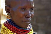 Local Turkana tribeswoman, Lokichokio, Northern Kenya, December 2003. Traditional dress and ornaments are of vital importance, much emphasis being placed on adornment of women. Beads and jewelry indic... - Boris Heger - 04-12-2003