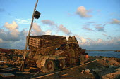 A Russian army truck holding one of the famous Stalins organ rocket launcher rusts on the beach after years nearby the sea, on the Dahlak Islands, Eritrea, September 98. Dahlak Islands were strategica... - Boris Heger - 17-09-1998