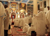Fidels pray during the Christmas ceremony at the Beta Medhane Alem (Savior of the World) Church of Addis Ababa, the biggest orthodox church of the country, Ethiopia, December 2005 - Boris Heger - 06-01-2005