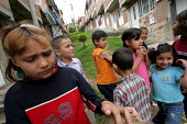 Displaced children play in a transit centre run by the womens organisation Yo Mujer in Los Altos de Cazuca, one of the worst slums in Bogota, Colombia, January 2006. There are an estimated 3 million p... - Boris Heger - 30-08-2006