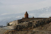 A view of the famous Mount Ararat, located just after the border with Turkey, with the Orthodox Monastery of Khor Virap, Armenia, February 2005. According to the Bible account in the book of Genesis,... - Boris Heger - 02-03-2005