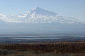 A rare sunny view of the famous Mount Ararat, located just after the border with Turkey, Khor Virap, Armenia, February 2005. According to the Bible account in the book of Genesis, Noahs Ark came to re... - Boris Heger - 05-03-2005