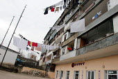 Typical street view with clothes drying up between houses in Stepanakert, Nagorno Karabakh, Azerbaidjan, March 2005. The region, although officially located within Azerbaidjan, is being occupied by Ar... - Boris Heger - 03-03-2005