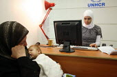 Iraqi refugee family registering at a UNHCR (United Nations agencys for refugees) center. There is an estimated 1.4 million Iraqis who sought refuge in Syria due to the ongoing violence in their count... - Morris Bernard - 26-08-2007