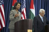 Palestinian Authority president Mahmud Abbas and Condolezza Rice US Secretary of State speaking at the Authority Headquarters, Muqata Presidential Palace, Ramallah, Occupied West Bank, Israel, 2007 - Morris Bernard - 15-10-2007