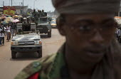 A column of the FOMAC (Multinational Force of Central Africa region) patrols the streets in an attempt to stabilize a volatile situation in Bangui, June 3, 2013, Central African Republic. Seleka forme... - Boris Heger - 03-06-2013
