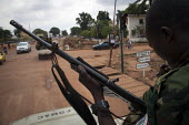 A column of the FOMAC (Multinational Force of Central Africa region) patrols the streets in an attempt to stabilize a volatile situation in Bangui, June 3, 2013, Central African Republic. Seleka forme... - Boris Heger - 2010s,2013,47,Africa,African,Africans,AK,AK 47,AK47,AK47S,armed,Armed Forces,arms,army,Assault Rifle,Assault Rifles,AUTO,AUTOMOBILE,AUTOMOBILES,AUTOMOTIVE,bloody,CAF140,car,CARS,Central,Central Africa