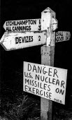 A warning sign put up near Salisbury Plain by protesters danger US nuclear missiles on exercise, as Greenham Common became the base as American Cruise Missiles were deployed there. - Bob Naylor - 1980s,1983,activist,activists,against,American,americans,anti,Anti Nuclear weapons,Anti War,Antiwar,atomic,campaign,Campaign for nuclear disarmament,campaigner,campaigners,campaigning,CAMPAIGNS,cnd,Co