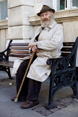 A retired man rests on a bench, Doncaster Town Centre. - Connor Matheson - 13-04-2013