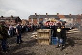 Ex miner gets ready to light a fire containing a Margaret Thatcher effigy, Goldthorpe, Barnsley. - Connor Matheson - 17-04-2013