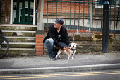 A man with his dog, Upperthorpe Sheffield. - Connor Matheson - 2010s,2014,animal,animals,canine,cities,city,dog,dogs,male,man,men,owner,owners,OWNERSHIP,people,person,persons,pet,pets,urban,walk,walking,Yorkshire