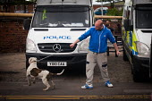 A man taunts police with his dog, Rotherham centre. - Connor Matheson - 2010s,2014,adult,adults,alcohol,animal,animals,anti social behavior,antisocial behaviour,behavior,behaviour,bulldog,bulldogs,can,canine,cans,cities,city,CLJ,dog,dogs,EQUALITY,excluded,exclusion,HARDSH