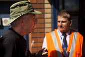 "George Arthur, who is a member of B.R.A.G and a ""Freedom Rider"" that was recently arrested at Sheffield train station for fare evasion, attempts to negotiate with northern rail staff so the pensioners... - Connor Matheson - 28-07-2014"