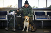 An old man with his dog in Rotherham Bus station. - Connor Matheson - 2010s,2014,animal,animals,bought,Bus,bus service,Bus Stop,BUSES,buy,buyer,buyers,buying,canine,cities,city,commodities,commodity,consumer,consumers,customer,customers,dog,dogs,goods,male,man,men,owner