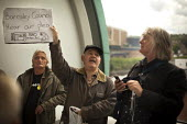 Barnsley Freedom Riders rally in protest for free rail travel for the elderly. Barnsley Interchange, South Yorkshire. - Connor Matheson - 21-08-2014