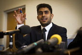 Muhbeen Hussain, leader and founder of Rotherham Youth Council speaks at a community press conference. Rotherham Centre, South Yorkshire. - Connor Matheson - 29-08-2014
