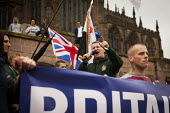 Far right group Britain First staging a demonstration in Rotherham Centre, South Yorkshire. - Connor Matheson - 2010s,2014,activist,activists,against,bigotry,BNP,British National Party,campaign,campaigner,campaigners,campaigning,CAMPAIGNS,child sexual abuse,cities,city,DEMONSTRATING,demonstration,DEMONSTRATIONS