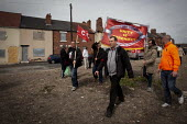 Ex miners march through Goldthorpe on the day of Thatchers funeral, Goldthorpe, Barnsley. - Connor Matheson - 17-04-2013