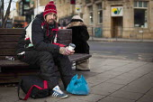 A homless man with his food parcel. Barnsley Centre. - Connor Matheson - 02-02-2015