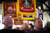 People watching Dennis Skinner speak during Banners Held High, an event that marks the end of the 1984-1985 miners strike. Unity Centre, Wakefield, South Yorkshire. - Connor Matheson - 07-03-2015