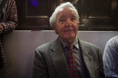 Dennis Skinner posing for a portrait during an event that marks the end of the 1984-1985 miners strike. Unity Centre, Wakefield, South Yorkshire. - Connor Matheson - 2010s,2015,age,ageing population,disputes,elderly old,INDUSTRIAL DISPUTE,labour party,left,left wing,leftwing,member,member members,members,MINER,miners,MINER'S,miners strike miner's strike NUM,mp mps