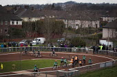 Sheffield Cycle Speedway Club. A cycling race, Cookson park Shirecliffe, Sheffield, South Yorkshire. - Connor Matheson - &,2010s,2015,activities,adolescence,adolescent,adolescents,bicycle,bicycles,BICYCLING,Bicyclist,Bicyclists,BIKE,BIKES,boy,boys,child,CHILDHOOD,children,cities,city,club,clubs,COMPETITATIVE,competition
