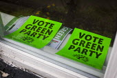 Vote Green Party posters on display, Nether Edge, Sheffield, South Yorkshire. - Connor Matheson - 16-04-2015