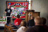 Ronnie Draper Gen Sec BFAWU speaking at a rally. Global day of action for fast food workers rights and fair pay, Youth Fight for Jobs campaign and BFAWU. Sheffield Centre, South Yorkshire - Connor Matheson - 18-04-2015