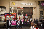 Protest at McDonald's, Sheffield, South Yorkshire. Global day of action for fast food workers rights and fair pay, Youth Fight for Jobs campaign and BFAWU - Connor Matheson - 18-04-2015