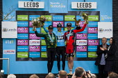 Norwegian Lars Nordhauge from team Sky on the podium after being announced the first winner of the Tour De Yorkshire. He is joined by BMC's Ben Herman. Roundhay Park, Leeds, West Yorkshire - Connor Matheson - 2010s,2015,bicycle,bicycles,BICYCLING,Bicyclist,Bicyclists,BIKE,BIKES,cities,city,cycle,cycles,cycling,Cyclist,Cyclists,Leeds,Norwegian,PHYSICAL,race,races,racing,spo,sport,sports,team,urban,victory,w