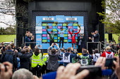 Norwegian Lars Nordhauge from team Sky on the podium after being announced the first winner of the Tour De Yorkshire. He is joined by stage winner BMC's Ben Herman. Roundhay Park, Leeds, West Yorkshir... - Connor Matheson - 03-05-2015