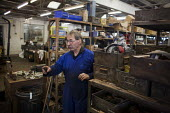 John Adams, owner, talking to his workers. J Adams and Sons manufacture a range of military and cooking knives out of steel using traditional hand based production methods. The family business employs... - Connor Matheson - 18-05-2015