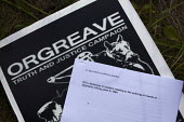 The IPCC decision document on a Orgeave Truth and Justice Campaign placard. Campaigners and supporters rally to mark the 31st anniversary of the battle of Orgreave which took place during the miners s... - Connor Matheson - 18-06-2015