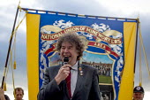 Chris Skidmore Yorkshire area NUM Pres speaking to Campaigners and supporters rally to mark the 31st anniversary of the battle of Orgreave which took place during the miners strike. Activists and vict... - Connor Matheson - 18-06-2015