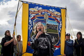 Barbara Jackson OTJC speaking to Campaigners and supporters rally to mark the 31st anniversary of the battle of Orgreave which took place during the miners strike. Activists and victims are demanding... - Connor Matheson - 18-06-2015