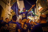 The Feast of Our Lady of Sorrows St. Pauls Bay Malta, cheering and jumping in the air outside the village church - Connor Matheson - 24-07-2015