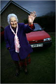 Nora Hardwick from Ancaster, Grantham, still driving regularly at 100 years old. - Christopher Thomond - 2000s,2005,adult,adults,age,ageing population,AUTO,AUTOMOBILE,AUTOMOBILES,AUTOMOTIVE,car,cars,driver,drivers,driving,elderly,FEMALE,lfl,LIFE,MATURE,oap,oaps,old,pensioner,pensioners,people,person,pers