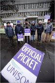 Dave Ellis ( centre, beard) and other caretakers on strike at Huddersfield Technical College, West Yorkshire. - Christopher Thomond - 28-11-2005