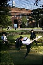 Pupils playing cricket at Manchester Grammar School. - Christopher Thomond - 2000s,2005,adolescence,adolescent,adolescents,boy,boys,bursary,child,CHILDHOOD,children,cricket,edu education,education,elite,elitism,EQUALITY,fees,Grammar,independent,INEQUALITY,juvenile,juveniles,ki