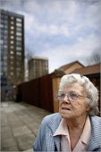 Dolly Lloyd who is concerned about the changing demographics of the inner city Vauxhall area of Liverpool as her bungalow is rapidly surrounded by new apartment blocks for students. - Christopher Thomond - 2000s,2006,age,ageing population,apartment,blocks,bungalow,cities,city,elderly,FEMALE,High Rise,housing,Liverpool,old,people,person,persons,scene,scenes,soi social issues,street,streets,tenant,tenants