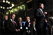 European elections voting results at Manchester Town Hall. BNP leader Nick Griffin speaking before the results are declared at the count. - Christopher Thomond - 07-06-2009