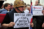Sacked workers gather in protest outside the Total Lindsey oil refinery in Lincolnshire. - Christopher Thomond - 2000s,2009,activist,activists,british jobs for british workers,CAMPAIGN,campaigner,campaigners,CAMPAIGNING,CAMPAIGNS,DEMONSTRATING,DEMONSTRATION,DEMONSTRATIONS,disputes,employment,foreign,foreign labo